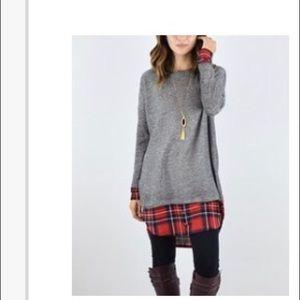 Plaid Grey Sweater Dress/Layered